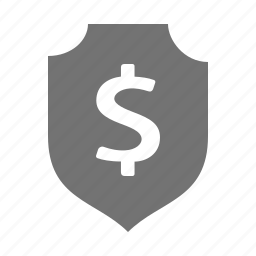 currency, dollar, insurance, money, protection, security, shield icon