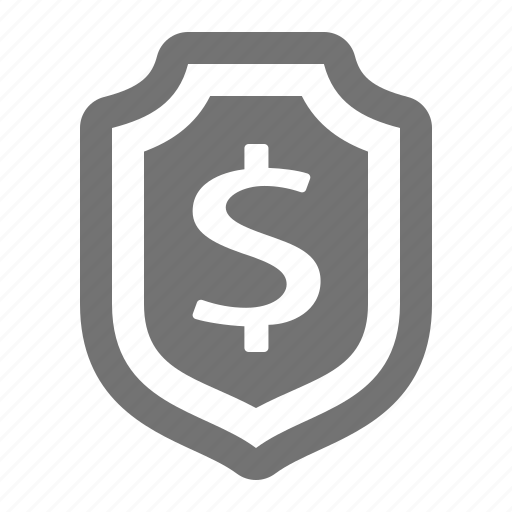 dollar, financial, insurance, money, protection, security, shield icon