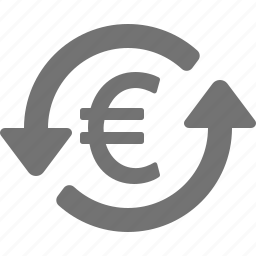 arrows, currency, euro, exchange, investment, money icon