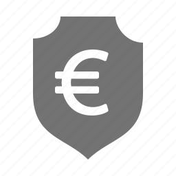 currency, euro, insurance, money, protection, security, shield icon