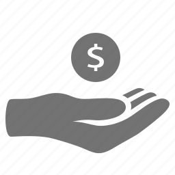 coin, donation, hand, handout, help, loan, money, payment icon