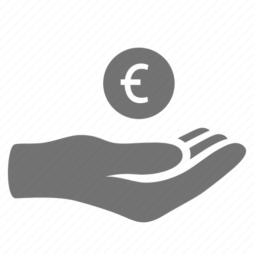 donation, euro, hand, handout, help, loan, money, payment icon