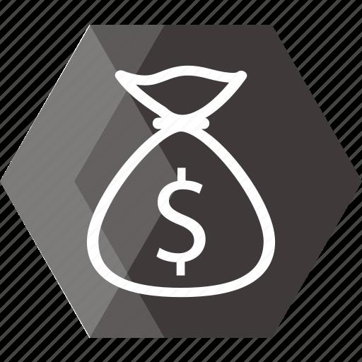 bag, cash, coin, dollar, financial, hand bag, money icon