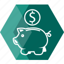 bank, cash, coin, dollar, finance, money, pig icon