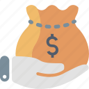 bag, cash, dollar, finance, hand, loan, money icon