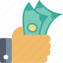 banknote, finance, hand, money, pay, payment icon