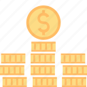 business, coin, currency, dollar, finance, money, stack icon