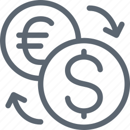 business, conversion, currency, dollar, euro, exchange, money icon