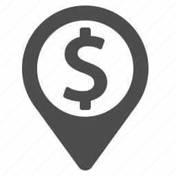 dollar, finance, gps, location, marker, money icon