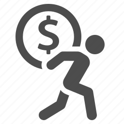 carrying, coin, debt, finance, man, money, savings icon