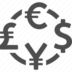 conversion, currency, dollar, euro, exchange rate, pound, yen icon