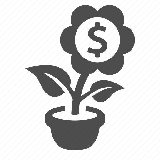 business, finance, flower, investment, money, pot, startup icon