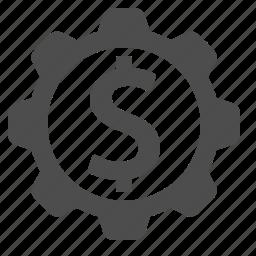 business, cog, dollar, finance, gear, money icon