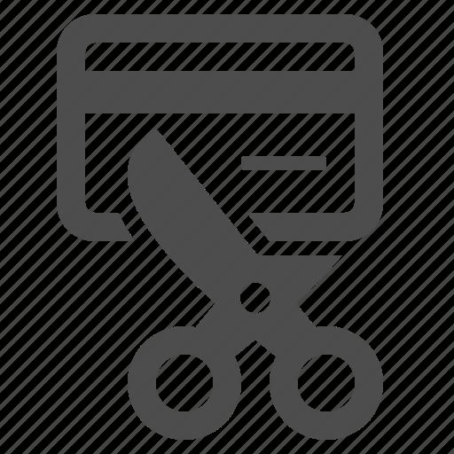 credit card, debt, finance, money, scissors icon