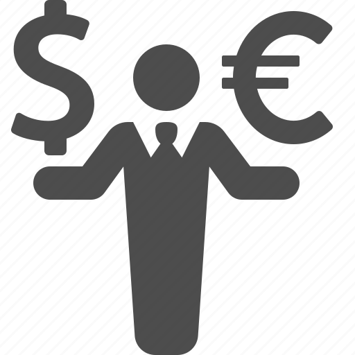 business, businessman, currency, dollar, euro, finance, money icon