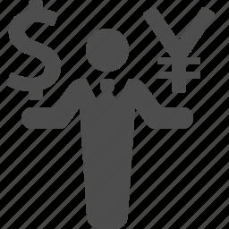 business, businessman, dollar, finance, money, yen, yuan icon
