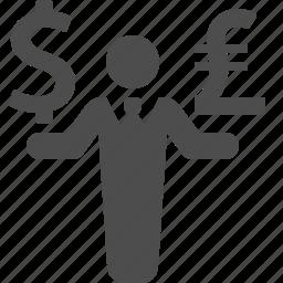 business, businessman, dollar, exchange rate, finance, money, pound icon