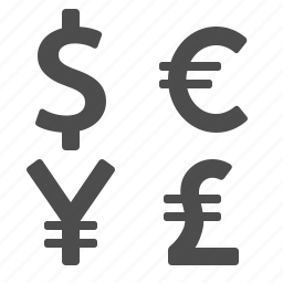 currency, dollar, euro, exchange rate, pound, yen, yuan icon
