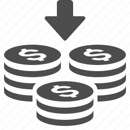 arrow, coin, coins, down, money, stack, stacked icon