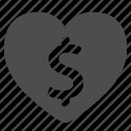 dollar, finance, heart, love, money icon