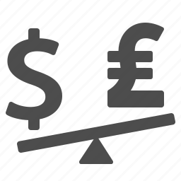 conversion, currency, dollar, money, pound, see-saw, seesaw icon