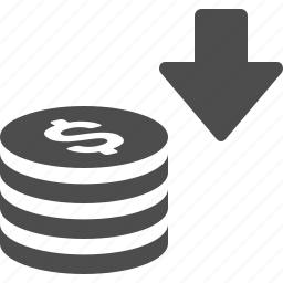 arrow, coin, coins, stack, stacked icon