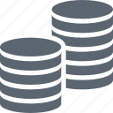 banking, cash, coins, finance, money, stack icon