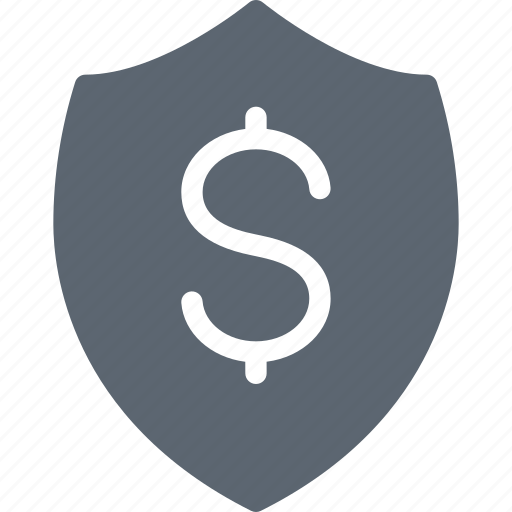 dollar, insurance, money, protection, security, shield icon