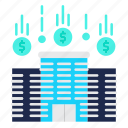 building, business, company, flow, money flow icon