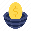 egg, gold, money, money flow, savings icon