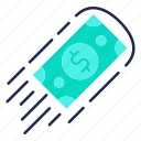 cash, financial, flow, fly, money flow, payment icon