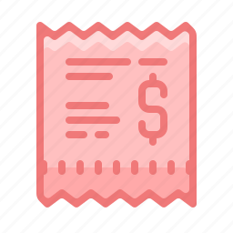 bill, invoice, payment, receipt, shopping icon