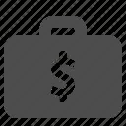 briefcase, business, cash, dollar, finance, money, suitcase icon