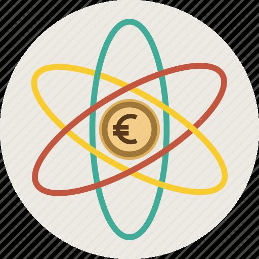 analitics, atome, dollar, euro, finance, marketing, mobile, money icon