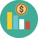 arrow, chart, dollar, down, graph, income, money, sales, tower, up icon