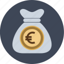 bag, bank, dollars, euro, money, moneybag, us icon