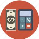 banking, budget, business, calculator, currency, dollar, euro, finance, money, paper icon
