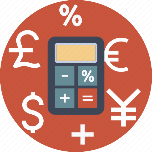 banking, budget, business, calculator, currency, dollar, euro, finance, money, percent, pund, yen icon