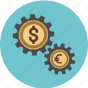 business, cog, dollar, euro, finance, gears, money, options, pay, payment icon