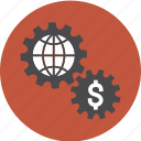 business, cog, dollar, euro, finance, gears, global, globe, money, options, pay, payment icon