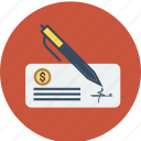 bank, check, cheque, dollar, estate, euro, finance, money, pen, real, sign icon