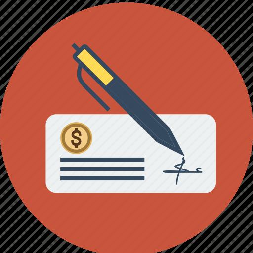 bank, check, cheque, dollar, estate, euro, finance, money, pen, real, sign icon