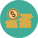 coins, dollar, euro, finance, money, pound, stack, stacked icon