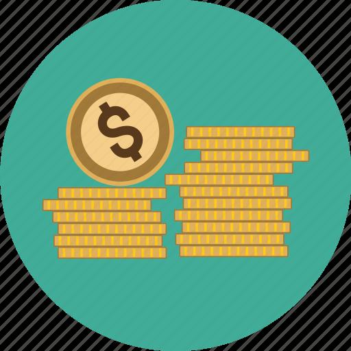 coins, dollar, euro, finance, money, pound, stack, stacked icon