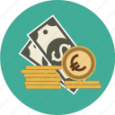 coins, dollar, euro, finance, money, papers, pound, stack, stacked icon