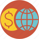 business, dollar, economy, euro, finance, global, globe, money, world icon
