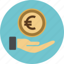 cash, coin, dollar, euro, hand, income, investment, money, sign, streched icon