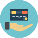 card, cash, coin, credit, dollar, euro, hand, income, investment, money, sign, streched icon