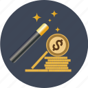 coin, currency, dollar, euro, finance, gold, magic, money, transaction, wand, yen icon