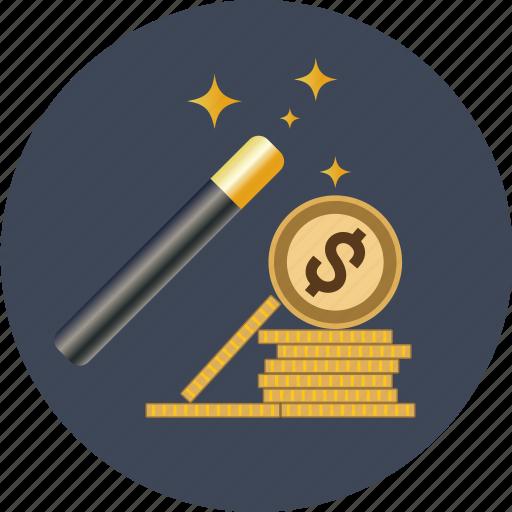 coin, currency, dollar, euro, finance, gold, magic, money, transaction, wand, yen icon